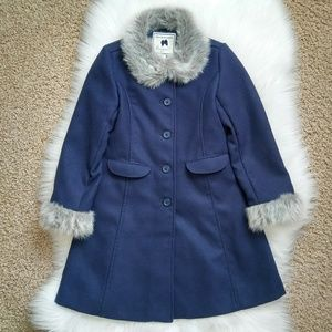 JANIE AND JACK Faux Fur Trimmed Coat Size 6.